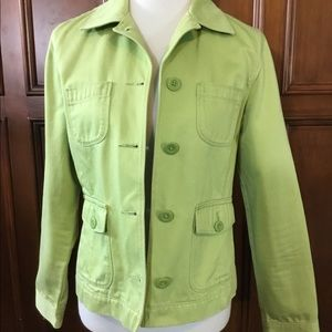 LLBean women's green button down jacket SzS 0APY4